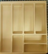 Cutlery Tray Organiser Kitchen Drawer Divider Beige Storage 7 Compartment 500mm