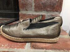 Stuart Weitzman Bronze Metallic Slip On Leather Espadrille Flats Size 7