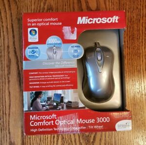 Microsoft Comfort Optical Mouse 3000 Model 1043 PC Windows 7 Mac High Definition