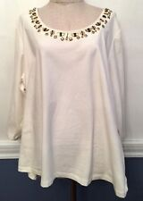 2X Ruby Road Off White Cream Knit Top New NWT Embellished 3/4 Sleeve Gilt Comple