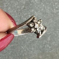 "Retro Cute 925 Sterling Silver Crystal Flowers Women's Jewelry Ring Size  "" 7 """