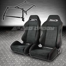 2 X TYPE-R BLACK SUEDE RECLINABLE RACING SEATS+BRACKETS CIVIC/DEL SOL/INTEGRA EG