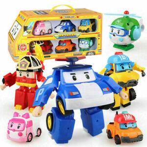6 Modell ROBOCAR Poli Cartoon Action Figuren Spielzeug AutoTransformers Roboter