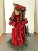 """Victorian Porcelain Doll Brown Hair Red Velvet Dress Black Lace 18"""" Wood Stand"""