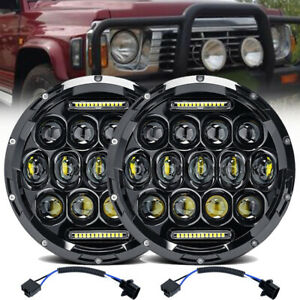Pair 7'' Inch Round LED Headlights Hi/Lo Sealed Beam DRL Headlamps For GQ PATROL