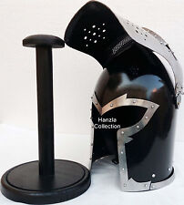 Roman knight Helmet~Barbute Medieval Armour Helmet with Inner Liner & Wood Stand