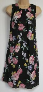 New Florence & Fred Tesco Black Floral Print Shift Summer Dress - 6 - 20