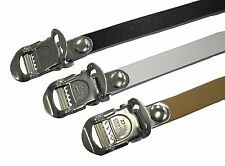 NEW pr MKS Fit-α Alpha SPIRITS Leather Toe Straps Wht/Blk/Brn for pedals w clips