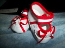 "Elegant Baby Shoes Crib style White W/Red 14-15"" Baby Dolls Nib 1-3/4"" L"