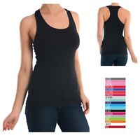New Women's Racer Back Yoga Tank Top 100% Cotton Solid Sports Gym Fitness S,M,L