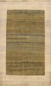Bordered Gabbeh Oriental Area Rug GREEN Wool Handmade Contemporary Carpet 6x9