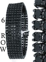 Men New 14k Black Gold Finish 6 Row Black Lab Diamond Simulate Bracelet 8.5 Inch