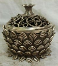 Chinese Tibetan Silver Lotus Lianhua Phurpa Dagger Incense Burner Censer