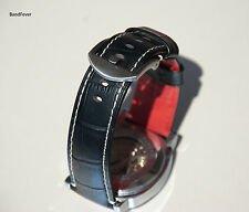 24mm BLACK GENUINE LEATHER WATCH BAND,STRAP Fit  heavy buckle, Red back watch