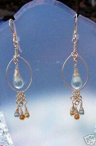 Green Amethyst and Songea Sapphire Chandelier Earrings