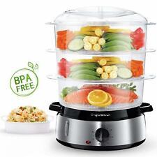 Cuiseur vapeur électrique sans  BPA. 3 nivaux 800 w  cuisine saine cuve inox