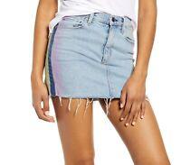 Hudson Women Skirt Light Wash Denim Blue Size 26 Dyed Side Fringe Mini $195 #202