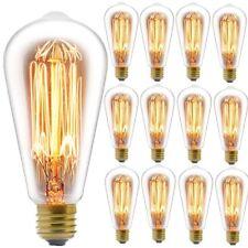 12 Pcs Edison E26 Screw ES Vertical Filament Bulb Industrial Light Lamp 40W ST64