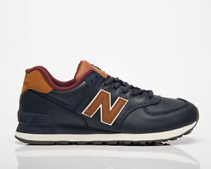 New Balance 574 Men's Navy Brown Low Casual Athletic Lifestyle Sneakers Shoes NB