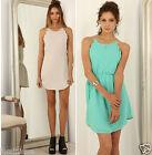 Scallop Trimmed Double Layer Shift Dress S M L Fabric Belt 8 10 12 14 Waist Tie
