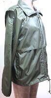 Vtg EDDIE BAUER Men's Size Small Green Windbreaker Rain Jacket w/ Stowable Hood