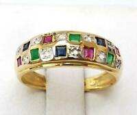 14K Yellow Gold Finish 1.00Ct Ruby Emerald Sapphire & Diamond Engagement Ring