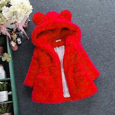 Winter Toddler Baby Kid Girl Warm Hooded Coat Fleece Fur Jacket Princess Outwear
