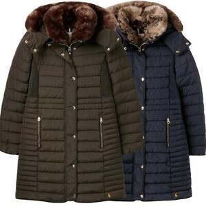 Joules Ladies Cherington Chevron Padded Coat Faux Fur Trim Womens Coat