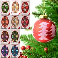 6pcs Christmas Glass Baubles Xmas Tree Ornaments Decorations Seasonal Decor 6cm