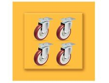 AmazonCommercial 5-Inch Top Plate Swivel PU Caster, Red, 4-Pack A24