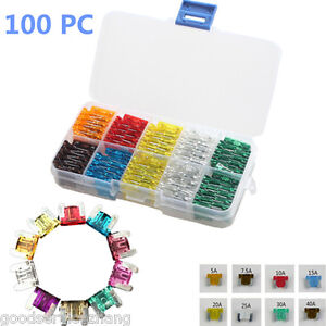 100pcs Assorted Low Profile Blade Fuse Circuit 2Leg For Nissan GM Car