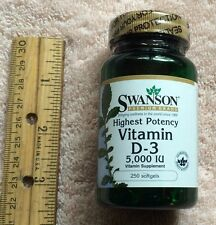 Highest potency Vitamin D-3, from Swanson >>>  5000 IU, 250 softgels