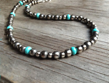 Navajo Pearls Necklace with Turquoise ~ Western Pearls ~ 6 & 8mm ~ Style #135
