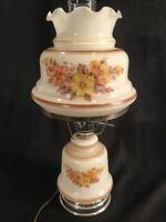 """Vintage 3 Way Yellow & Beige Floral Parlor Hurricane Lamp Electric 16 1/2"""" Tall"""