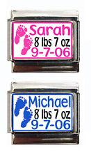 Baby Name, Weight, Birthday Custom Italian Charm, newborn, choose pink or blue!