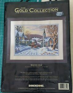 """Dimensions Gold Collection Counted Cross Stitch Kit """"Wintry Eve"""" 3854 RARE"""