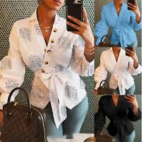 Womens Fashion V Neck Lantern Sleeve Shirts Casual Loose Bandage Tops Streetwear
