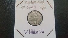 Netherlands 1941 - 25 cents Wilhelmina Koningin der Nederlanden coin.