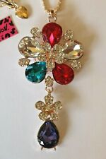 Betsey Johnson Crystal Rhinestone Enamel Flower Necklace Pendant