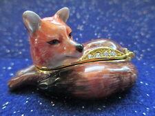 61176 Lady Laura ~The Fox ~Jeweled & Enamel Trinket Box ~ Boutique Miniature