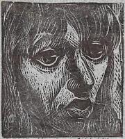CARLOS HERMOSILLA ALVAREZ Signed Linocut LIDIA PORTRAIT 1973