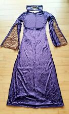 Belly Dance Costume Purple Crushed Velvet Saidi Dress w/Headband, Size S