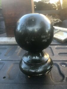 "massive vintage cannon ball style newel post finial 10.5"" h x 6.5"" diameter"