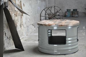 Fass Tisch Couchtisch aus 200 Liter Neu Fass mit Ablage - Beschichtung nach Wahl