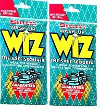 2 x SELLEYS WASH UP WIZ NEW Wiz THE SAFE SCOURER For Daily Use-ORIGINAL SELLEYS
