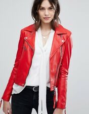New Women Leather Jacket Red Slim Fit Biker Motorcycle lambskin Size S M L XL