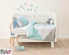 Baby Bedding Cot Set 2 Piece Reversible Comforter Nursery Boys Girls Kids Blue