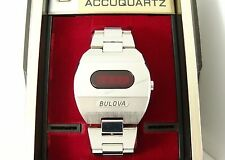 Vintage Bulova Accuquartz LED Digital c1974, Running, Original Box and Band