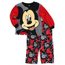 Disney Toddler Boys 3T 3 Mickey Mouse Fleece Pajamas Red/Black/Grey