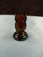 """HTF Boyd Art Glass Rubina Glass Woodsie Owl Figurine 2"""" Tall"""